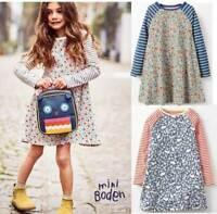Mini Boden dress ditsy flower bird print tunic blue red age 2 3 4 5 6 7 8 9 10