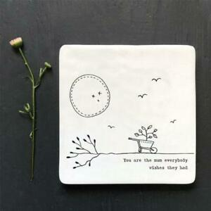 White Porcelain Square Coaster - You are the mum Everyone Wishes - East Of India