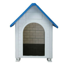 Waterproof Plastic Dog Cat Kennel Puppy House Outdoor Pet Shelter Up to -30Lb