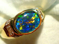 Mens Opal Ring 14ct Yellow Gold & Diamond Natural Opal Triplet 10x8mm Oval 90147