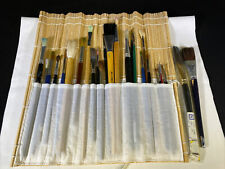 New listing Lot of 28 Artist Painting Brushes in Roll up Case Loew Cornell Duro Art Richeson