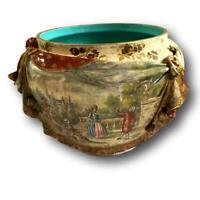 Grand cache-pot à décor de fleurs & scène champêtre signé Catelin XIX éme siecle