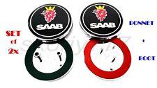 Set of 2x Saab 9-5 9-3 Black Front / Back Boot / Bonnet Emblem Badge Symbol Logo