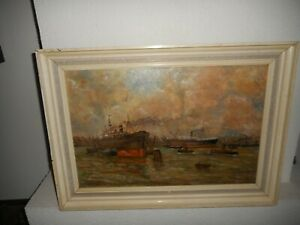 Very old oil painting,{ Harbor scene with ships}. Is antique!