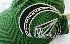 Volcom Hat Baseball Cap Fitted Flex Fit 6 7/8 - 7 1/4 Green Black White Adult