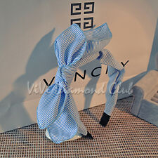 Fashion Korean Style Handmade Rabbit Bunny Ears Stripe Bow Ribbon Hair Head Band
