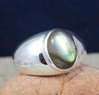 925 Silver Jewelry Labradorite Gemstone Men's Wear Handmade Ring Size 14 KR1194