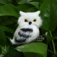 2Pcs Cute White/Black Furry Owl Simulation Christmas Ornament Home Adornment