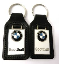BMW Keyrings, X2 , Black Leather And Enamel Scotthall Dealership (seconds)