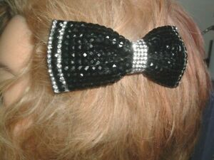 MADE IN FRANCE BLACK WHITE RHINESTONES n LEATHER BOW HAIR BARRETTE IN GIFT BOX