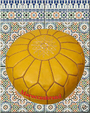 Moroccan Pouf Ottoman Footstool Poof Pouffe of Genuine leather Mustard