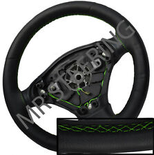 FOR ROVER 75 98-05 BLACK ITALIAN LEATHER STEERING WHEEL COVER GREEN STITCH