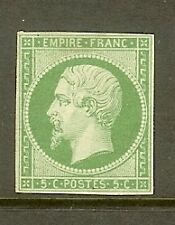 "FRANCE STAMP TIMBRE N° 12 "" NAPOLEON 5c VERT ND 1854 "" NEUF x TB SIGNE"