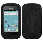 For Huawei Ascend Y H866C  Impact Hard Rubber Case Cover Kick Stand Black Black