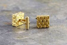 Vintage Christian Dior Gold Tone Square Textured Cufflinks