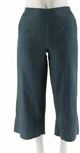 Attitudes Renee Pull-On Denim Culotte Pants Washed Denim 8 # A277516