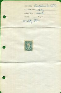 CSA STAMP #12a 10 CENT MILKY-BLUE ~ 1863-64  ~ KEATINGE & BALL PRINT ~ USED