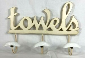 "Towel W/ 3 Porcelain Hooks Cutout ""towels"" Hanging Mounted Wood Shabby Chic"