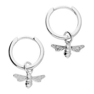 Sterling Silver Bee Earrings Huggie -  Bumble Bee - Hoop - Gift Boxed