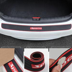 Universal Car Rear Guard Bumper Scratch Protector Cover Rubber Red Sport Logo CH