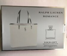 Romance By Ralph Lauren 3.4oz EDP Spray & White Canvas Tote Bag G/Set Women New