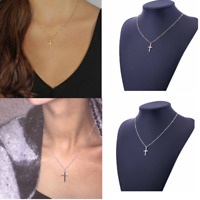 Women's Simple Small Tiny Cross Pendant Necklace Gold Silver Plated Beaded Chain