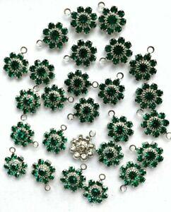 T036A - 24 Set w/Swarovski Stones Emerald Sterling Plate 1-Eye Flower Pendants