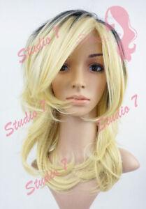 W138 Bleached Blonde Black Root Mid Length Choppy Layers Wig - studio7-uk