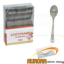 CUCCHIAIO IN PLASTICA COLORE ARGENTO 10 CM CONF. 50 PZ CUCCHIAIO SILVER