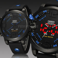 OHSEN Blue LED Date Alarm Mens Digital Military Army Watch Rubber Watch UK