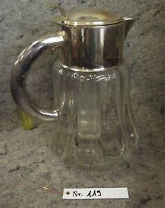 Glas, Schenkkanne, Kalte Ente, Metallmontur, mit Einsatz, sehr groß,alt, Nr. 119