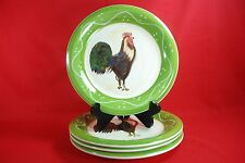 "ROOSTER STRUT COLLECTION Baum Bros DINNER PLATES 10-1/2"" Set of 4 Style Eyes"