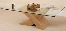 Oak Glass Wood Coffee Table Cross Leg Wooden Living Room Furniture Whg1#027