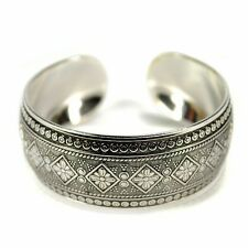 TRIBAL METAL CUFF Bangle Bracelet Tibetan Nepal Gypsy Style Silver Tone Jewelry