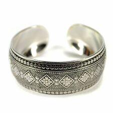 TRIBAL METAL CUFF Bangle Bracelet Tibetan Nepal Gypsy Style Silver Tone Jewelry