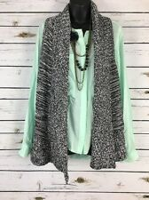 CACHE Size Medium Black White Sleeveless Open Cardigan Sweater
