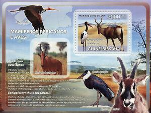 Guinea-Bissau Wild Animals & Birds on Stamps 2008 MNH Mammals Storks 1v S/S