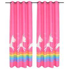 vidaXL 2x Children's Printed Blackout Curtains 140x240cm Pink Tiebacks Drapes