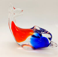 Art Glass Fish Figurine Paperweight Blown Glass Blue Orange Clear Murano Style