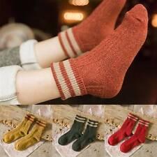 5 Pairs Women Vogue Cashmere Wool Thick Warm Socks Winter Fashion Striped Design