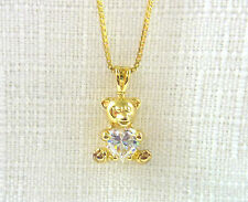 1.20ct White Heart Cubic Zirconia 14k/925 Gold Plated Silver Teddy Bear Necklace