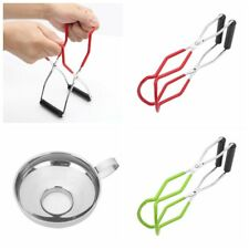 Stainless Steel Canning Jar Lifter Tong w/Grip+Funnel for Wide Regular Mason Jar