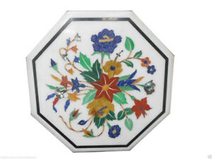 "12"" Marble Coffee Top Table Mosaic Floral Lapis Beautiful Art Decor Furniture"