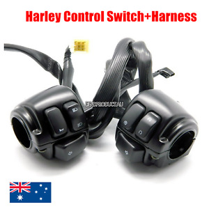 "Black 1"" Handlebar Switches + Wiring Harness Harley street bob glide FXDF XL 883"