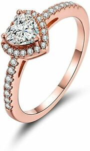 STUNNING 18k Rose Gold Ring CZ Rings for Women Size 7 Women Rings Fashion Plated