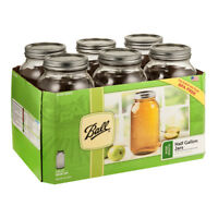 Ball 6 Pack 1/2 Gallon Wide Mouth Glass Jar Canning Lid Band Preserving Food