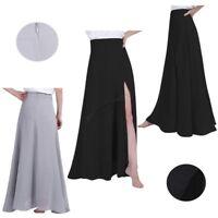 Women Ladies Chiffon Pleated Side Split Long Skirt Maxi Dress Bridesmaid Party