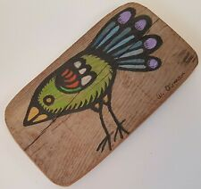Small Rustic Bird Painting on Reclaimed Wood Farmhouse Country Style Folk Art
