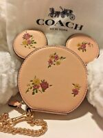 NWT DISNEY x COACH Minnie Mouse Limited Edition Dusty Rose Coin Case