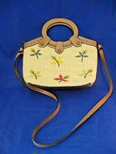 SMALL WOVEN SHOULDER HANDBAG BY FOSSIL - EMBROIDERED FLORAL DECORATION